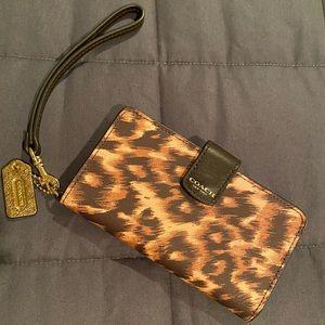 Coach - Leather Wristlet (Animal Print)